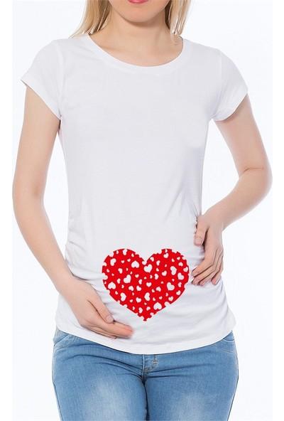 LuvmaBelly Maternity 2003_2004 Pamuklu Büyük Kalp Baskılı Hamile T-Shirt