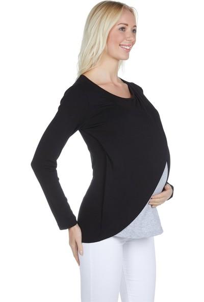 LuvmaBelly 3510 Siyah Pamuklu Viskon Lohusa Uzun Kollu Emzirme Bluz