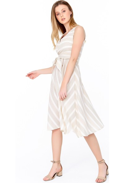 FullaModa Kadın Çizgili Elbise
