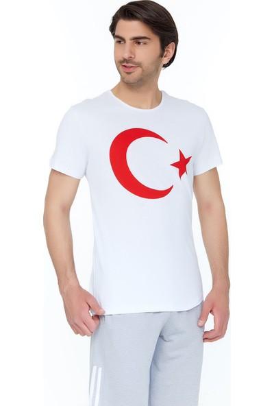 FullaModa Erkek Türk Bayrak Baskılı T-Shirt