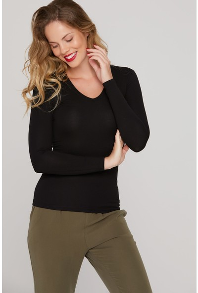 FullaModa Kadın V Yaka Sweatshirt