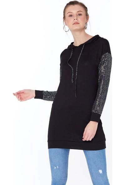 FullaModa Kadın Kapüşonlu Pullu Tunik