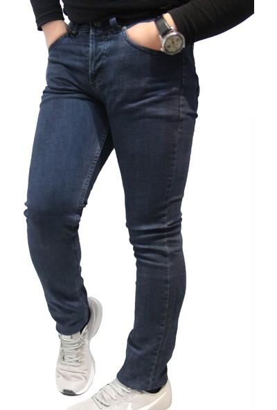 Denim Jeans Koyu Lacivert 29801 Dar Kesim Oturtmalı Kalıp Likralı Erkek Kot Pantolon