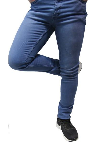 Saflee Dar Kesim Oturtmalı Kalıp Likralı Erkek Kot Pantolon