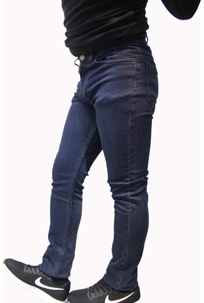 Denim Jeans Lacivert 118090 Dar Kesim Oturtmalı Kalıp Likralı Erkek Kot Pantolan