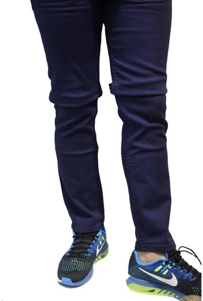 Denim Jeans Mavi 45 Likralı Oturtmalı Dar Kesim Erkek Kot Pantolon