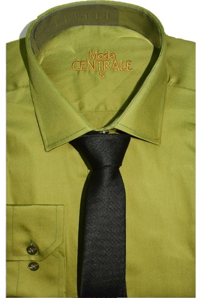Moda Centrale Pamuk Saten Slim Fit Erkek Gömlek 1069