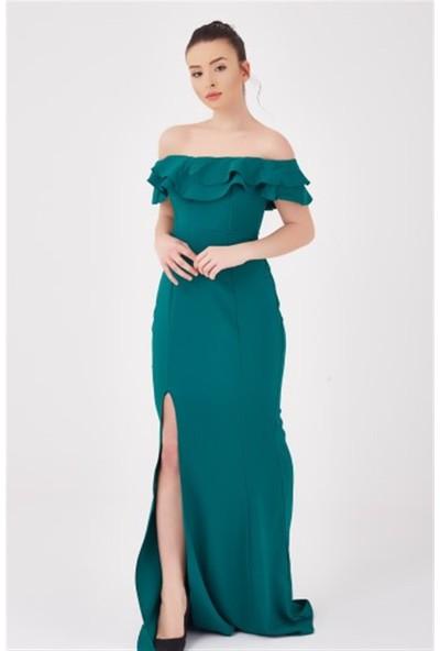 Ewa Moda Madonna Yaka Volanlı Balık Elbise Yeşil