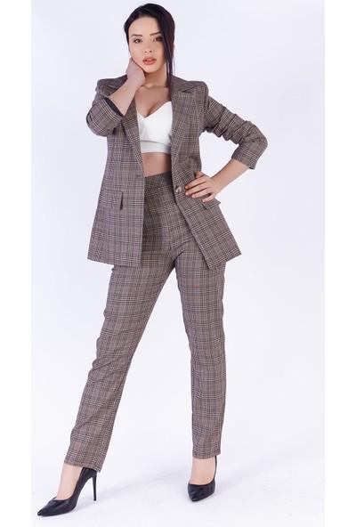 Ewa Moda Ekose Pantolon Ceket Takım Vizon