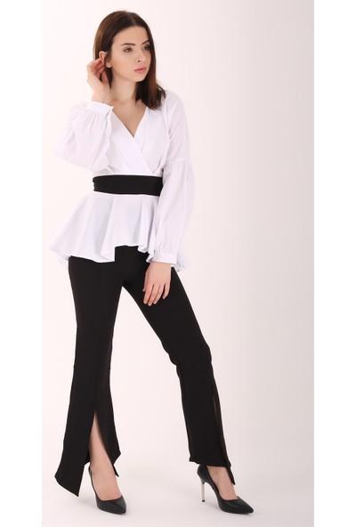 Ewa Moda Balon Kol Kuşaklı Bluz Pantolon Takım Siyah Beyaz