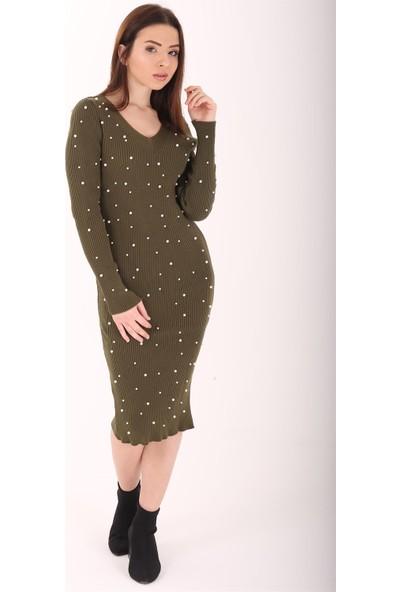 Ewa Moda İncili Triko Kalem Elbise Yeşil