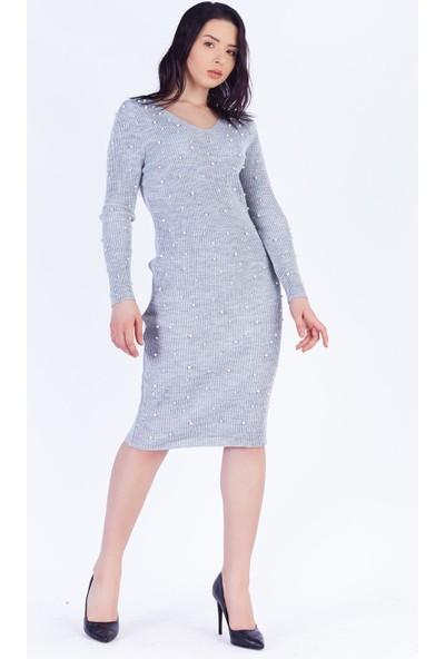Ewa Moda İncili Triko Kalem Elbise Gri