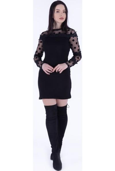 Ewa Moda Puantiye Tül Güpür Detay Triko Elbise Siyah