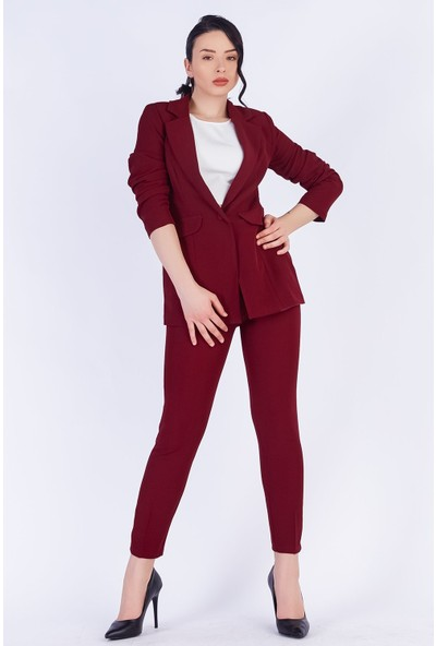 Ewa Moda Blazer Ceket Pantolon Takım Bordo