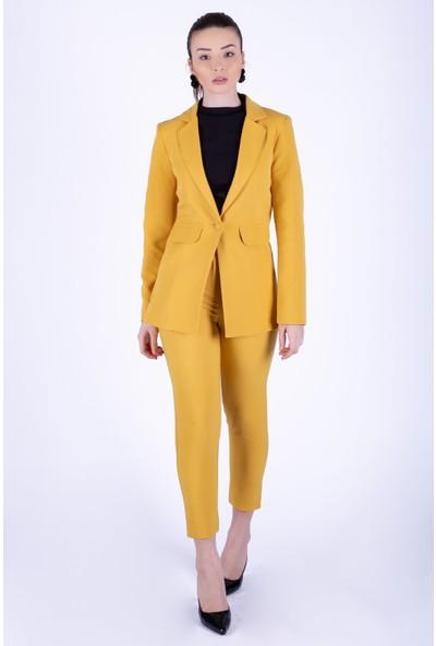 Ewa Moda Blazer Ceket Pantolon Takım Hardal