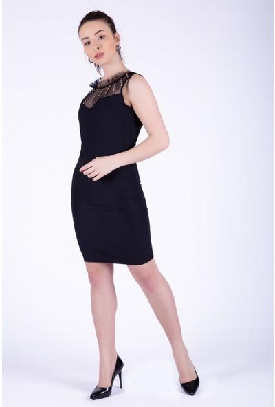 Ewa Moda Yakasırt Taş Detay Tasarım Elbise Siyah