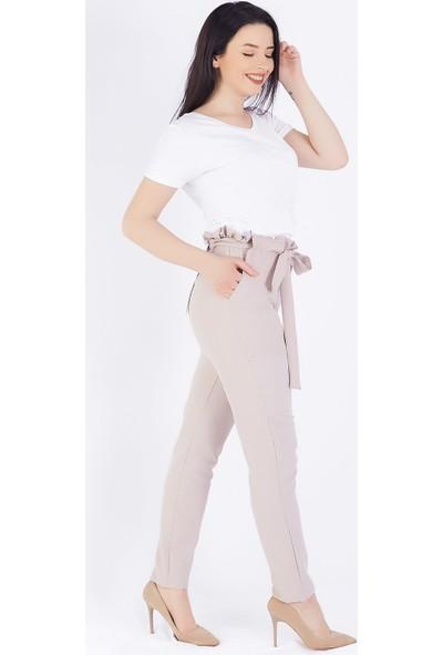 Ewa Moda Kuşaklı Havuç Pantolon Bej