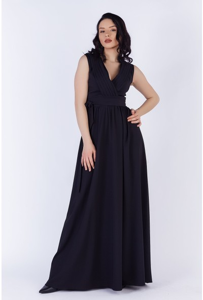 Ewa Moda Yaka Pilise Maxı Atlas Elbise Siyah