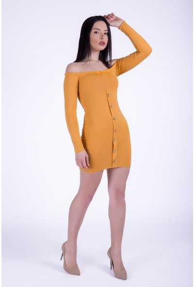 Ewa Moda Kaskorse Mini Elbise Sarı