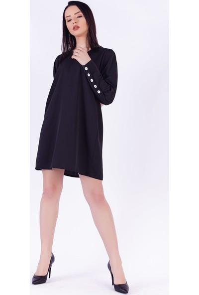 Ewa Moda Düğme Detay Cassandra Gömlek Elbise Siyah