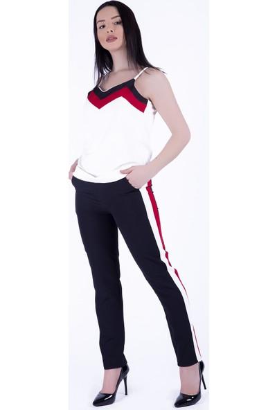 Ewa Moda Şeritli Atlas Pantolonbluz Takım Kırmızı