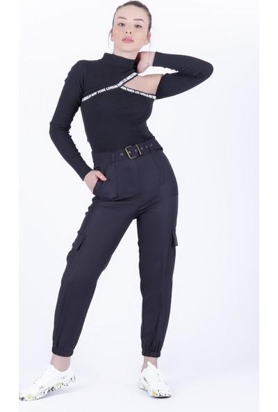 Ewa Moda Kemerli Kargo Pantolon Siyah
