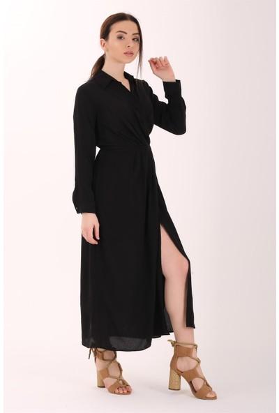 Ewa Moda Kruvaze Yaka Yırtmaclı Gömlek Elbise Siyah