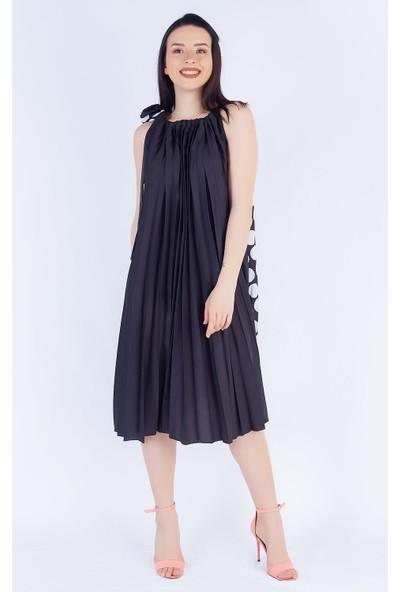 Ewa Moda Piliseli Salas Elbise Siyah Beyaz
