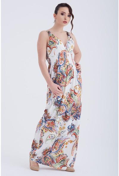 Ewa Moda Dijital Baskı Aksesuarlı Maxi Elbise Çok Renkli