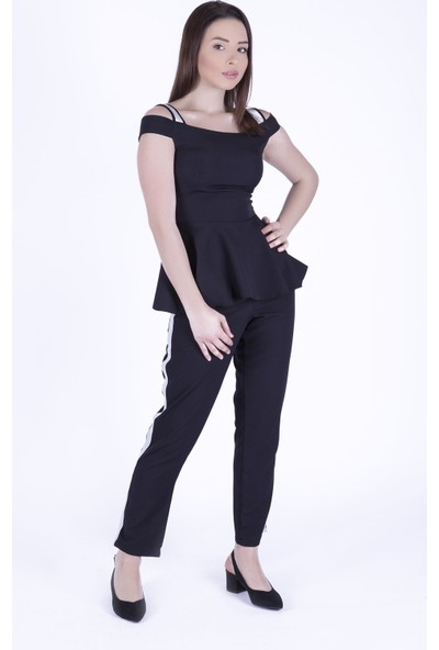 Ewa Moda Simli Şerit Detay Atlas Takım Siyah