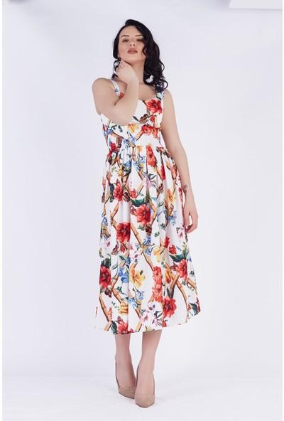 Ewa Moda Dijital Baskı Gipeli Elbise Çiçekli