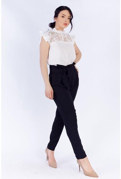 Ewa Moda Güpür Bluz Havuç Pantolon Takım Siyah