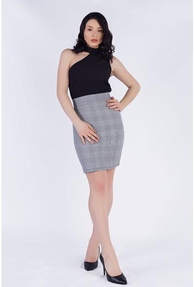 Ewa Moda Ekose Etek Bluz Takım Siyah