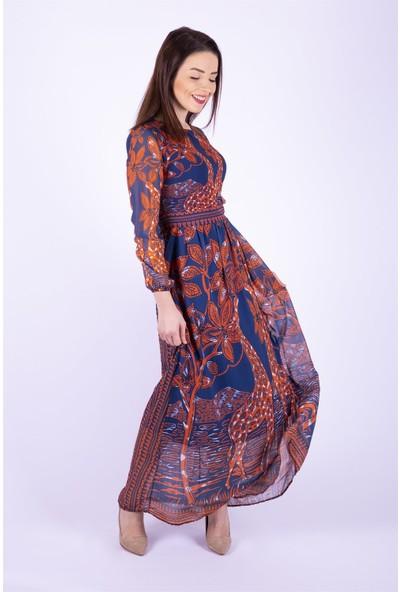 Ewa Moda Zurafa Desen Şifon Elbise Çok Renkli