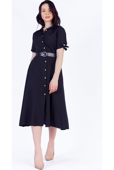Ewa Moda Kemerli Midi Keten Elbise Siyah