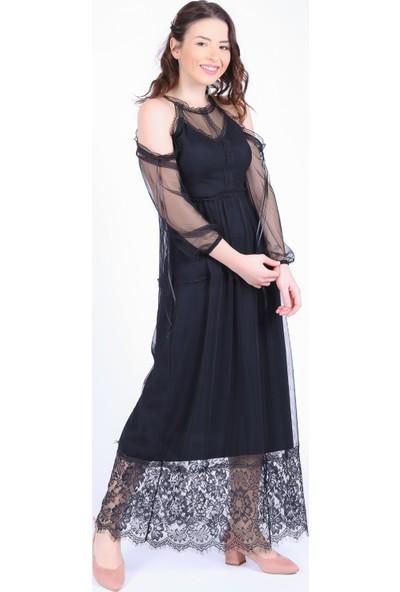 Ewa Moda Omuz Dekolte Güpür Detay Elbise Siyah