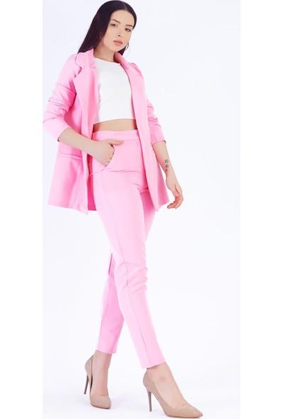 Ewa Moda Atlas Ceket Pantolon Takım Pembe