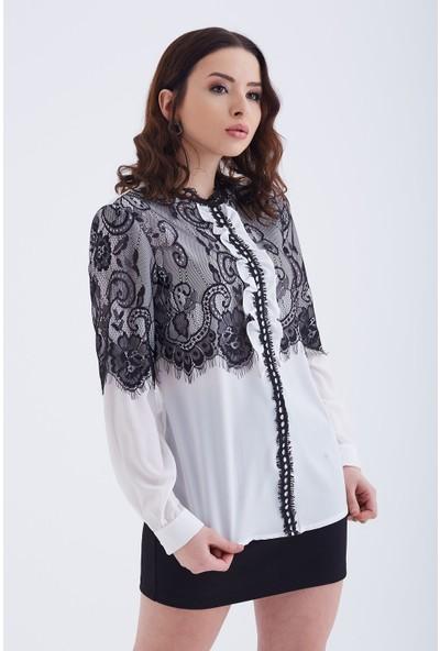 Ewa Moda Dantelli Cupra Gömlek Siyah Beyaz