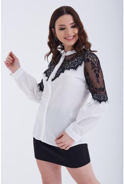 Ewa Moda Dantelli Poplin Gömlek Siyah Beyaz