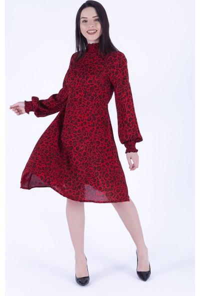 Ewa Moda Leopar Desen Gipeli Mini Elbise Kırmızı