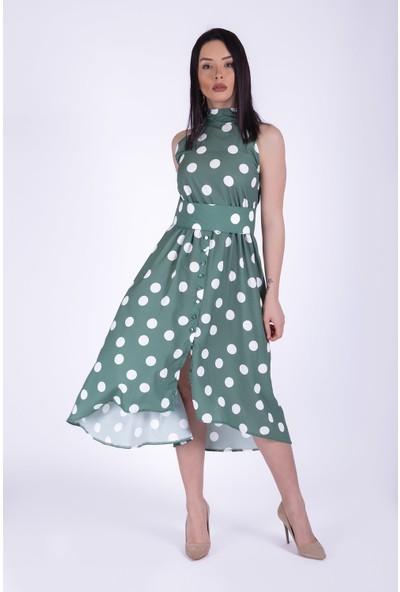 Ewa Moda Puantiyeli Crep Elbise Yeşil