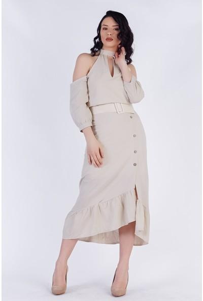 Ewa Moda Kemerli Keten Tasarım Elbise Bej
