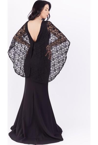 Ewa Moda Dantel Kanatlı Balık Abiye Elbise Siyah