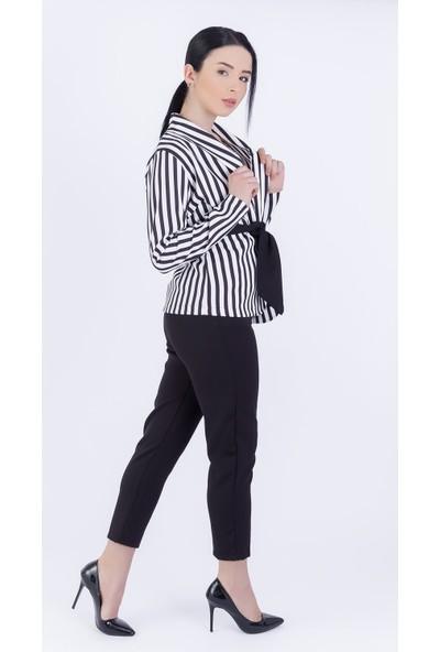 Ewa Moda Dijital Kuşaklı Ceket Pantolon Takım Siyah Beyaz