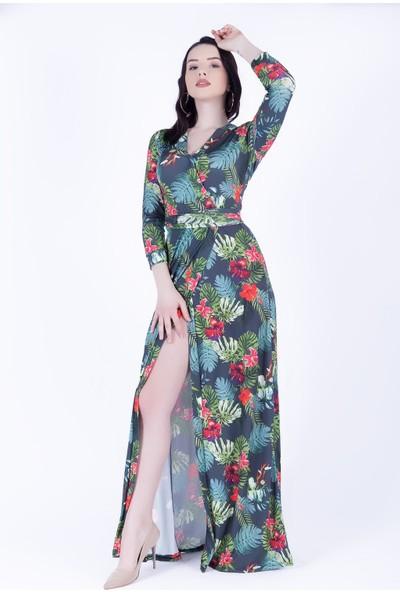 Ewa Moda Crep Kumaş Desenlı Kruvaze Elbise Yeşil