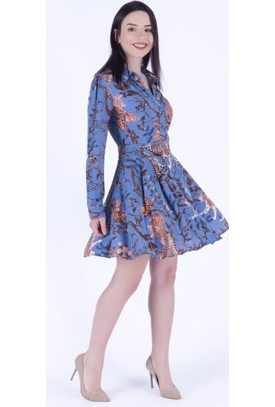 Ewa Moda Dal Desen Kloş Gömlek Elbise İndigo
