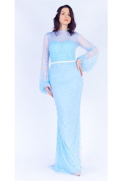 Ewa Moda Balon Kol İncili Maxı Abiye Bebe Mavi