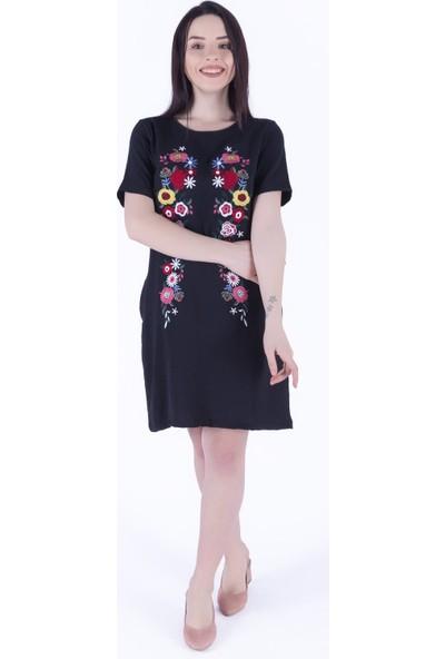 Ewa Moda Nakışlı Viskon Elbise Siyah