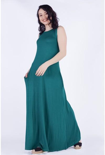 Ewa Moda Kolsuz Cepli Salaş Viskon Elbise Yeşil