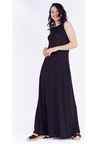 Ewa Moda Kolsuz Cepli Salaş Viskon Elbise Siyah
